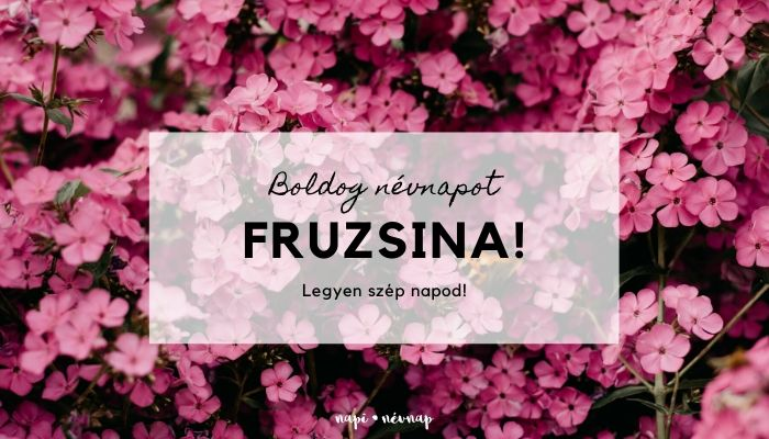 Fruzsina név üdvözlő borító
