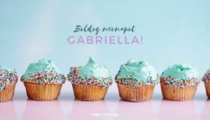 Gabriella név üdvözlő borító