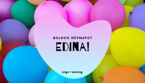 Edina név üdvözlő borító