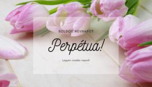 Perpétua név üdvözlő borító