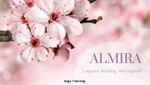 Almira név üdvözlő borító
