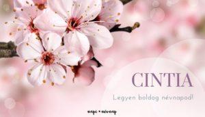 Cintia név üdvözlő borító