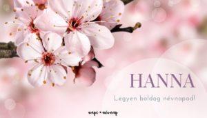 Hanna név üdvözlő borító