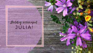 Júlia név üdvözlő borító
