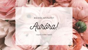 Auróra név üdvözlő borító