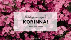 Korinna név üdvözlő borító