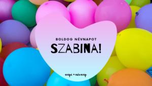 Szabina név üdvözlő borító