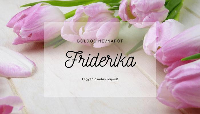 Friderika név üdvözlő borító