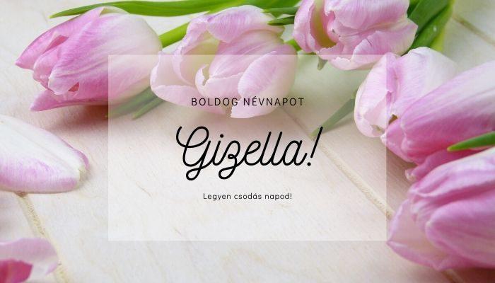 Gizella név üdvözlő borító