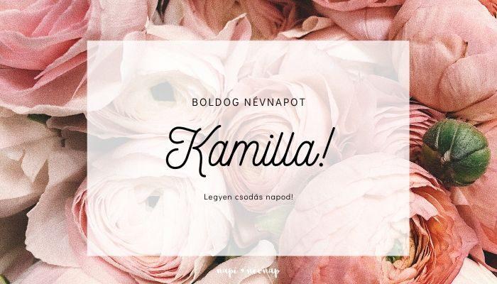 Kamilla név üdvözlő borító