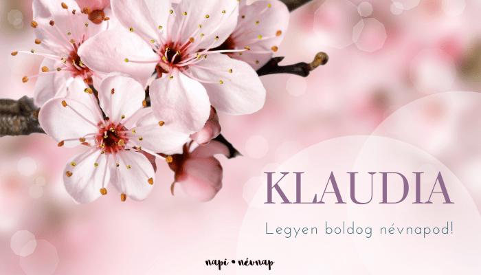 Klaudia név üdvözlő borító