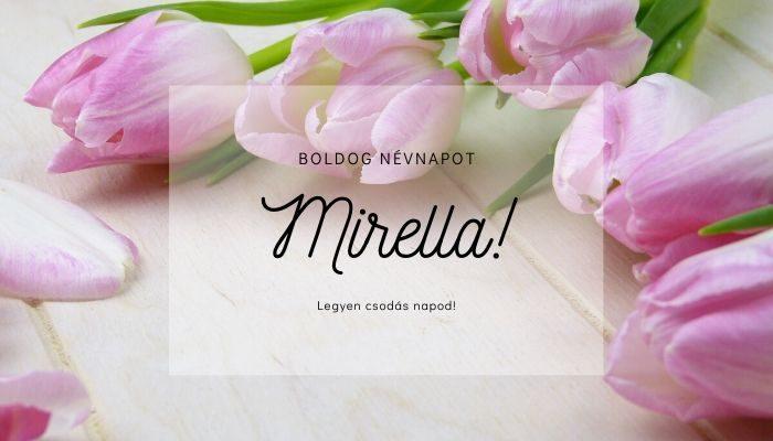 Mirella név üdvözlő borító