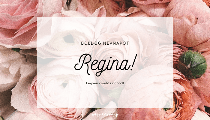 Regina név üdvözlő borító